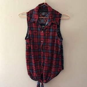Polly & Esther Plaid and Lace Button Up Tank